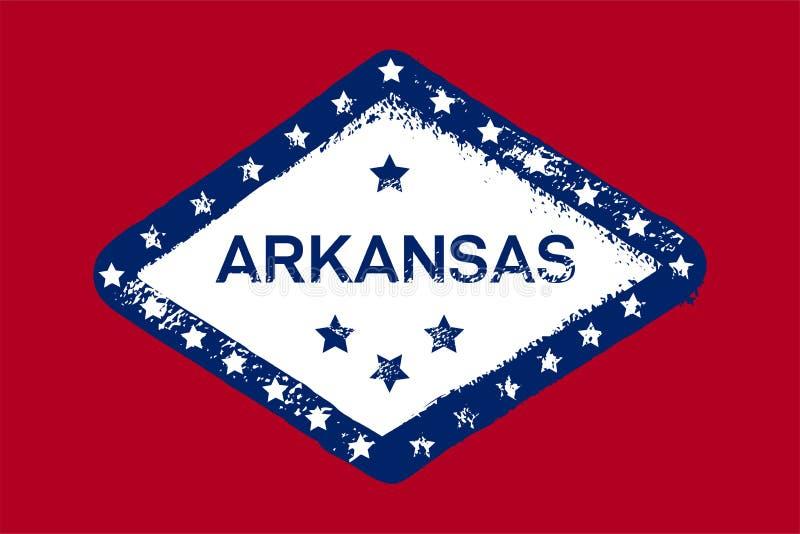 Bandera del Grunge de Arkansas Estado americano Textura, fondo, cartel stock de ilustración
