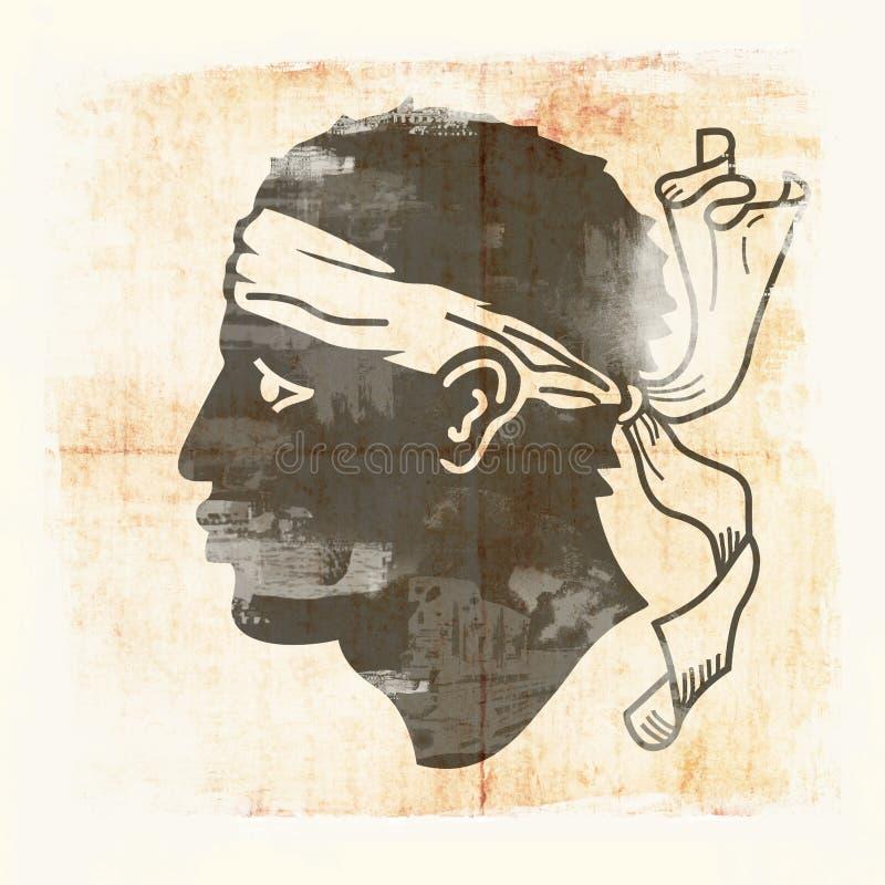 Bandera del Grunge de Córcega stock de ilustración