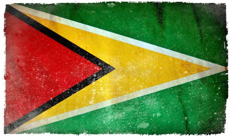 Bandera del grunge de Guyana stock de ilustración
