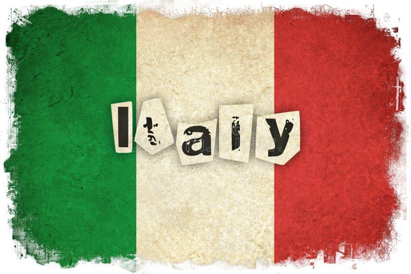 Bandera del Grunge de Italia con el texto stock de ilustración