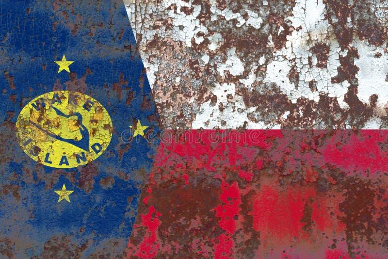 Bandera del grunge de la isla Wake, bandera dependiente del territorio de Estados Unidos fotos de archivo libres de regalías