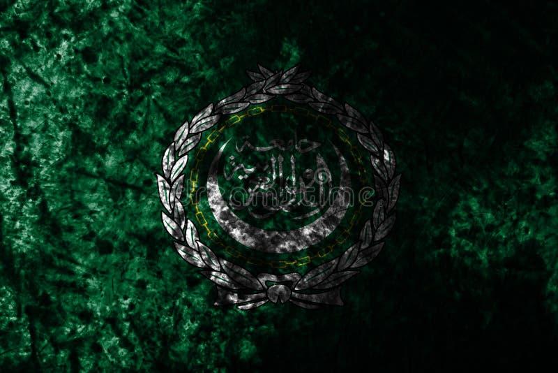 Bandera del grunge de la liga árabe en la pared sucia vieja, organización regional de estados árabes stock de ilustración