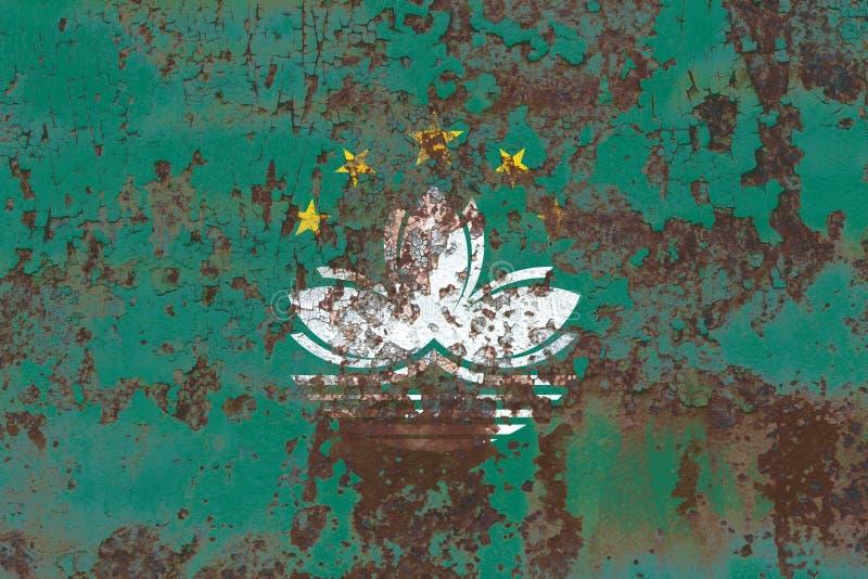 Bandera del grunge de Macao, bandera dependiente del territorio fotografía de archivo libre de regalías