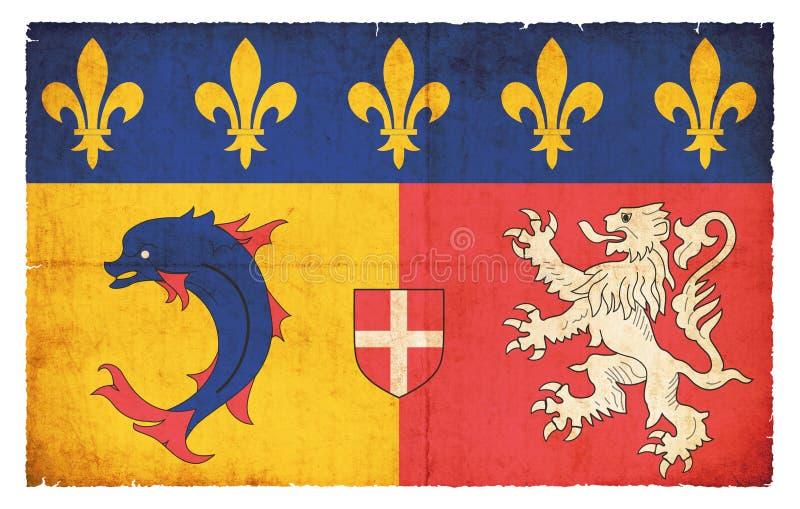 Bandera del Grunge de Rhone-Alpes Francia imágenes de archivo libres de regalías