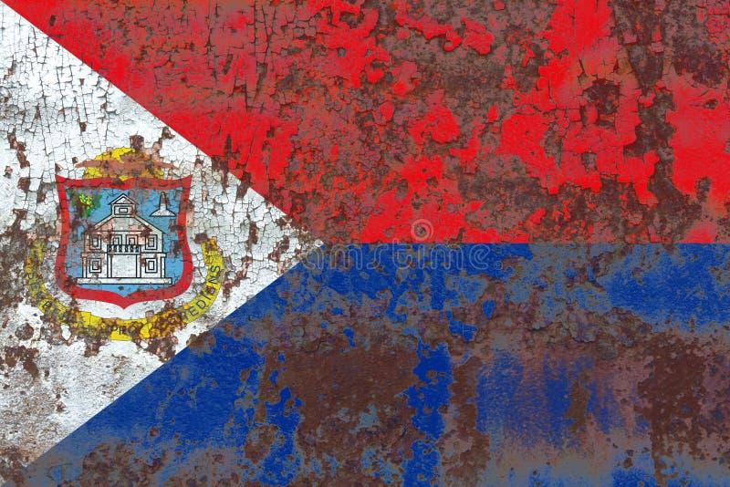 Bandera del grunge de Sint Maarten, bandera dependiente holandesa del territorio libre illustration