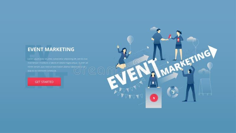 Bandera del héroe del marketing de eventos stock de ilustración
