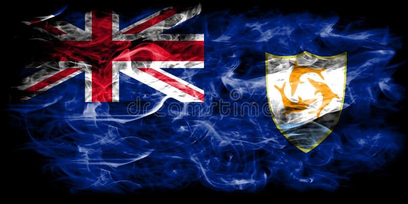 Bandera del humo de Anguila, territorios de ultramar británicos, bandera dependiente del territorio de Gran Bretaña stock de ilustración
