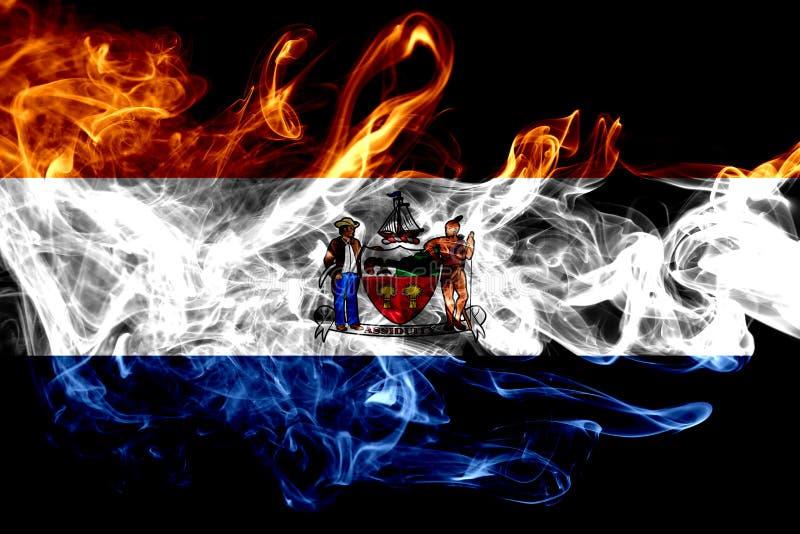 Bandera del humo de la ciudad de Albany, Estado de Nueva York, los Estados Unidos de América stock de ilustración