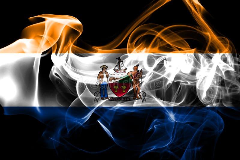 Bandera del humo de la ciudad de Albany, Estado de Nueva York, los Estados Unidos de América ilustración del vector