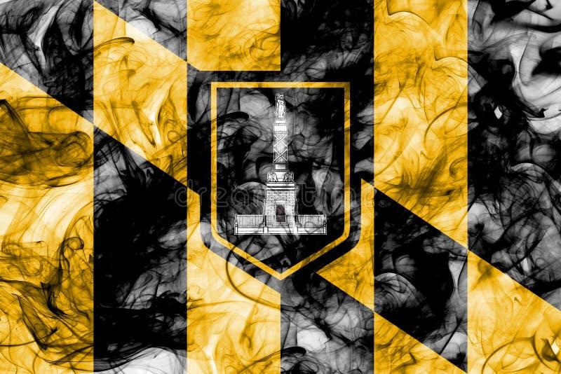 Bandera del humo de la ciudad de Baltimore, estado de Maryland, Estados Unidos de Amer ilustración del vector