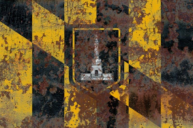 Bandera del humo de la ciudad de Baltimore, estado de Maryland, Estados Unidos de Amer fotografía de archivo