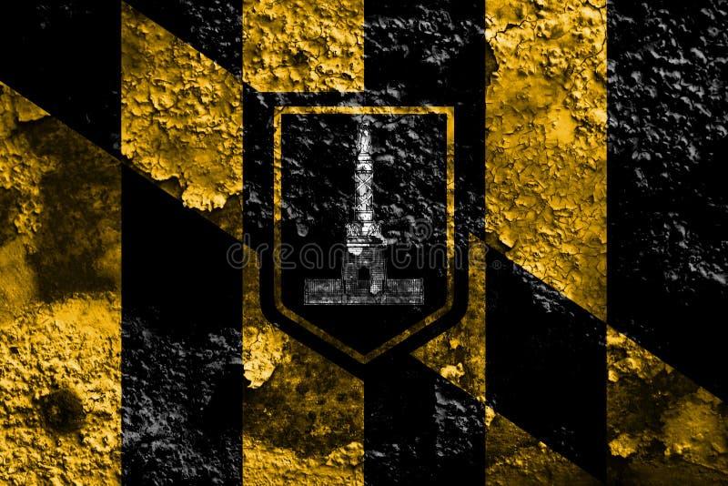 Bandera del humo de la ciudad de Baltimore, estado de Maryland, Estados Unidos de Amer stock de ilustración