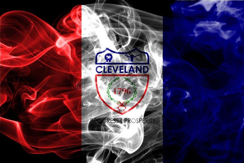 Bandera del humo de la ciudad de Cleveland, estado de Ohio, los Estados Unidos de América stock de ilustración