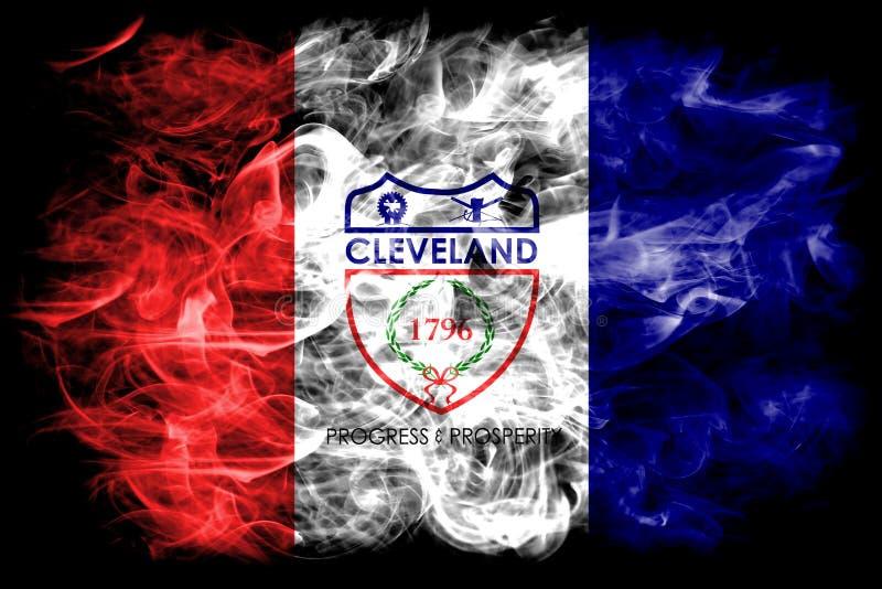Bandera del humo de la ciudad de Cleveland, estado de Ohio, los Estados Unidos de América ilustración del vector