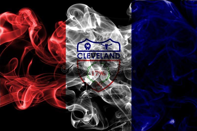 Bandera del humo de la ciudad de Cleveland, estado de Ohio, los Estados Unidos de América imagenes de archivo