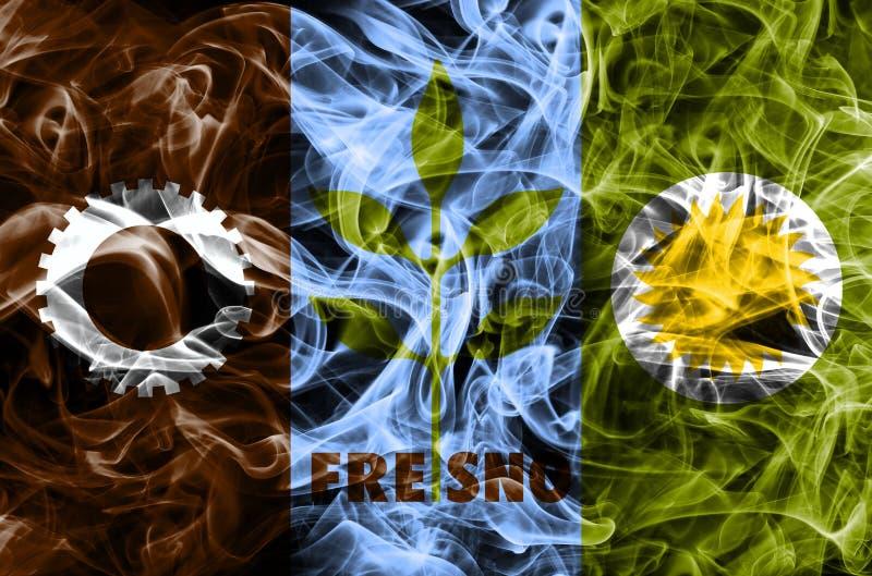 Bandera del humo de la ciudad de Fresno, estado de California, los Estados Unidos de América imagen de archivo libre de regalías
