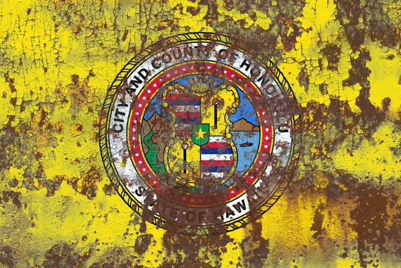 Bandera del humo de la ciudad de Honolulu, estado de Hawaii, los Estados Unidos de América imagenes de archivo