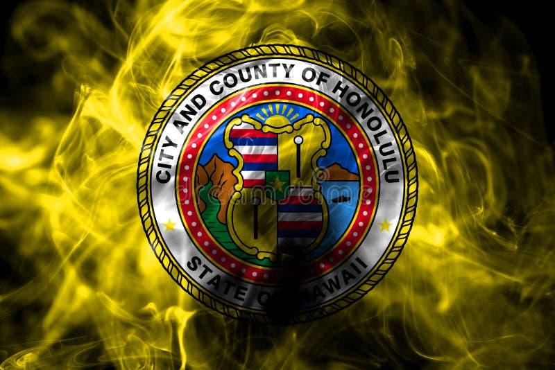 Bandera del humo de la ciudad de Honolulu, estado de Hawaii, los Estados Unidos de América imagen de archivo