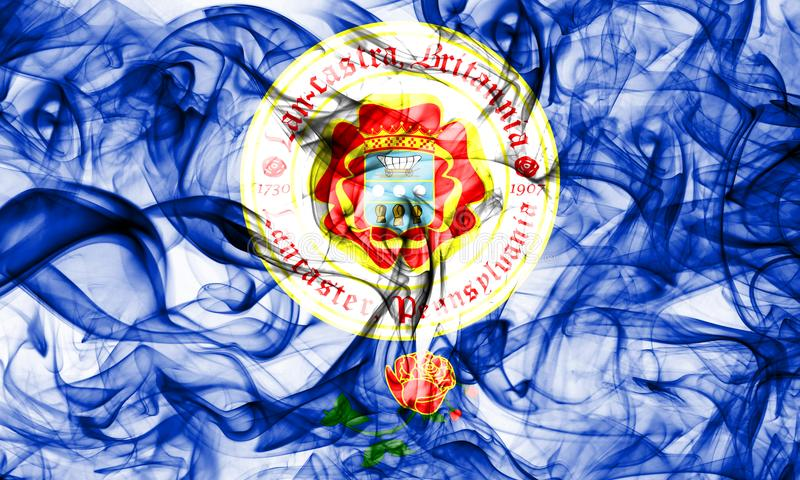 Bandera del humo de la ciudad de Lancaster, estado de Pennsylvania, los Estados Unidos de América imágenes de archivo libres de regalías