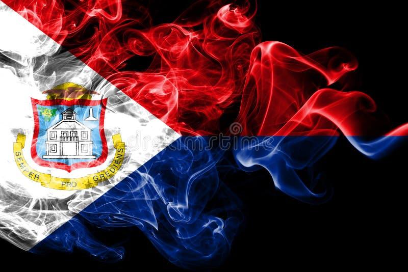 Bandera del humo de Sint Maarten, bandera dependiente holandesa del territorio ilustración del vector