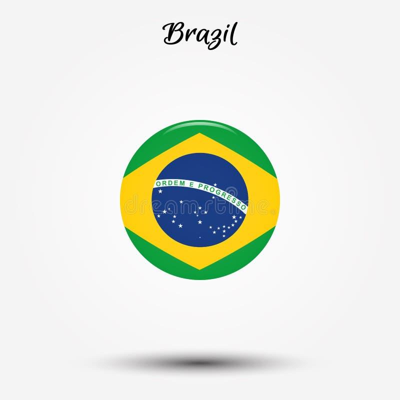Bandera del icono del Brasil ilustración del vector