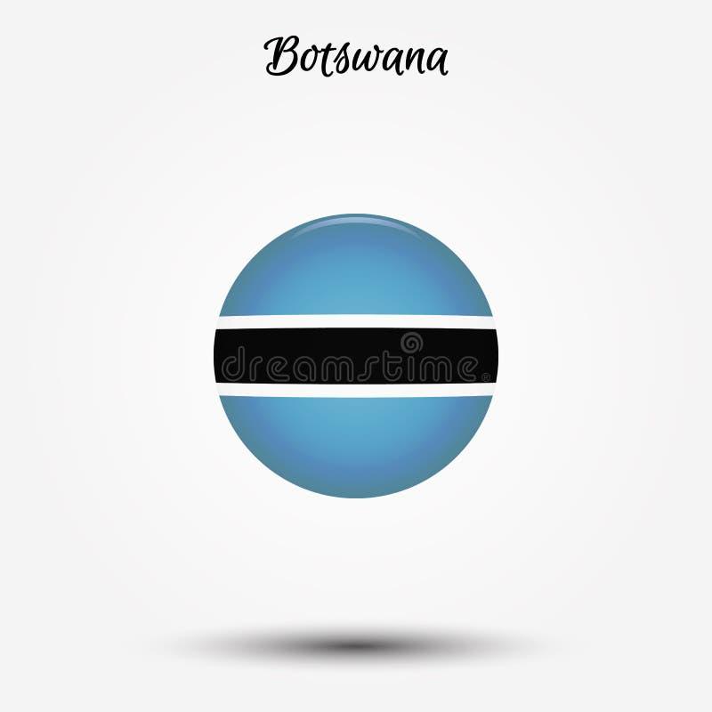 Bandera del icono de Botswana ilustración del vector