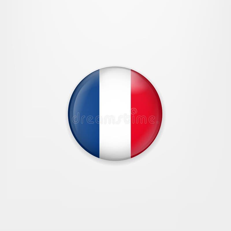 Bandera del icono, de la insignia o del botón redonda de Francia Símbolo nacional francés Ilustración del vector stock de ilustración