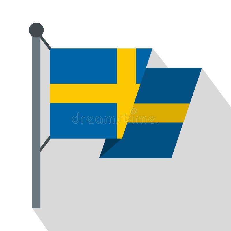 Bandera del icono de Suecia, estilo plano stock de ilustración