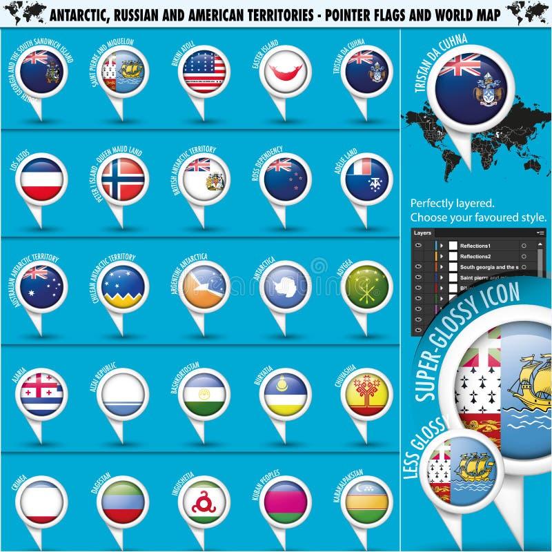 Bandera del indicador de los territorios del antártico, Rusia América imagen de archivo