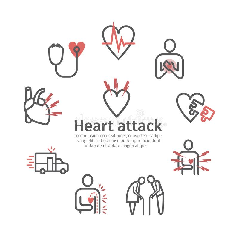 Bandera del infarto del miocardio, icono S?ntomas, tratamiento Muestras del vector stock de ilustración