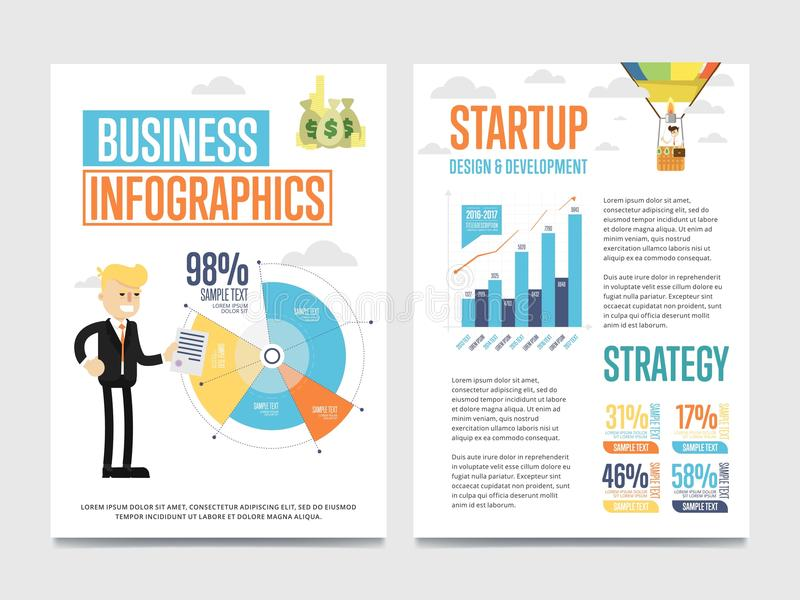 Bandera del infographics del negocio fijada con la carta ilustración del vector