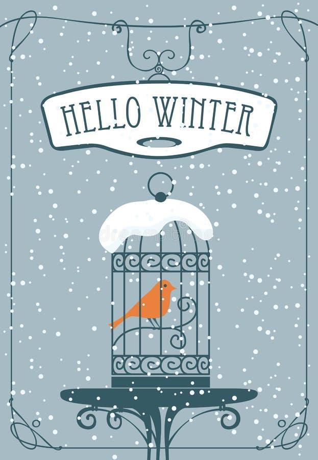 Bandera del invierno con el pájaro rojo en la jaula ilustración del vector