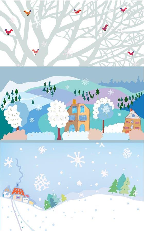 Bandera del invierno por la Navidad y el nuevo año libre illustration