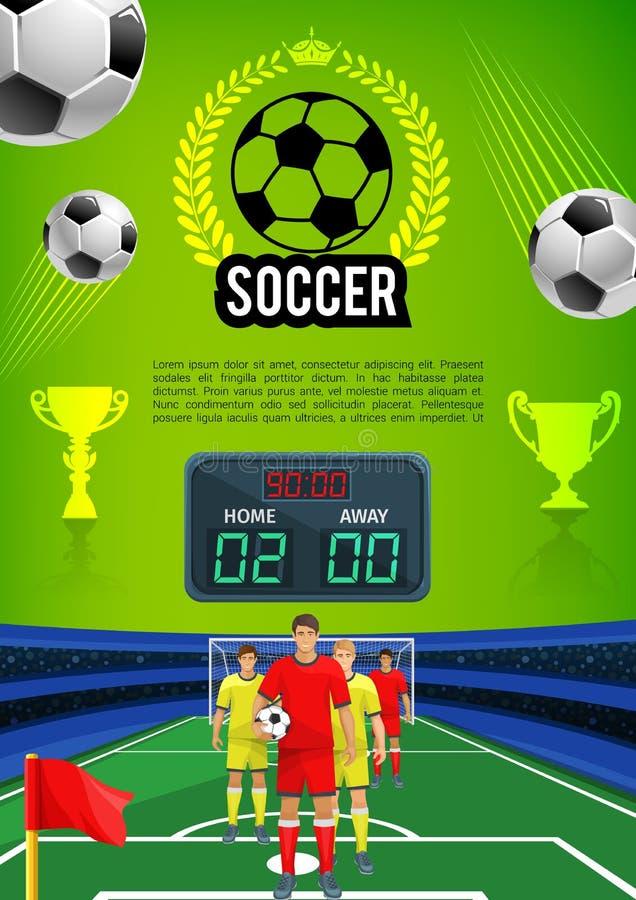 Bandera del juego del deporte del partido de fútbol con el campo de fútbol ilustración del vector
