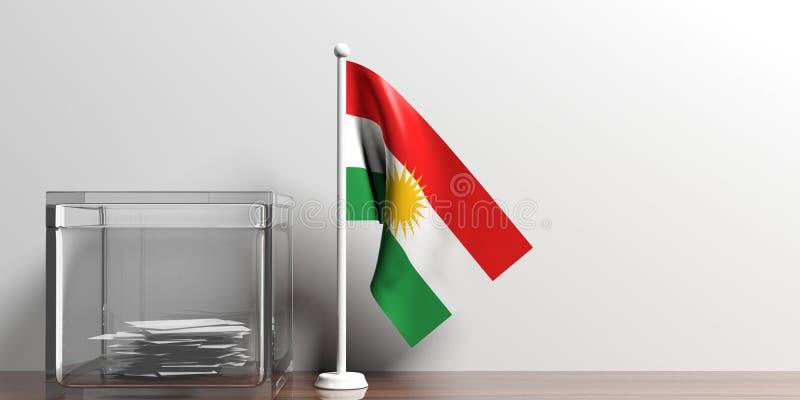 Bandera del Kurdistan al lado de una urna de cristal en superficie de madera ilustración 3D ilustración del vector