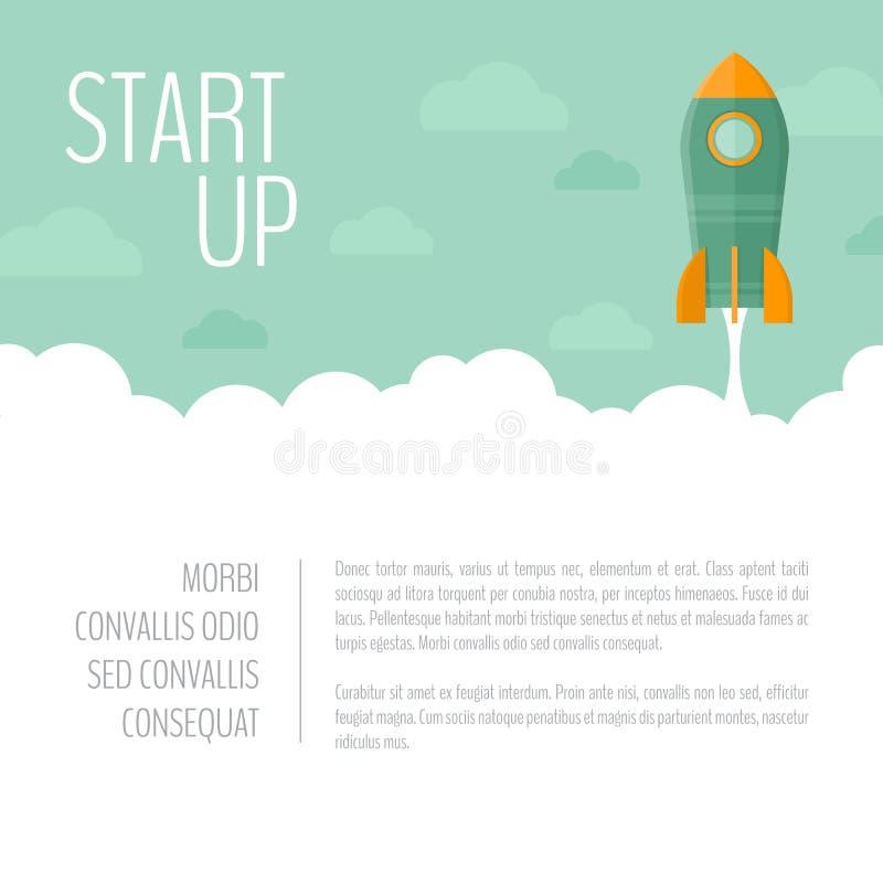 Bandera del lanzamiento de la nave de Rocket Concepto de lanzamiento del negocio Empiece para arriba f stock de ilustración
