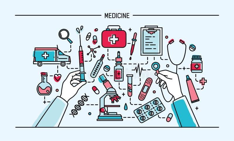 Bandera del lineart de la medicina Ilustración colorida del vector stock de ilustración