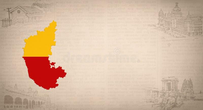 Bandera del mapa de Karnataka y lugares turísticos para el espacio de la copia stock de ilustración