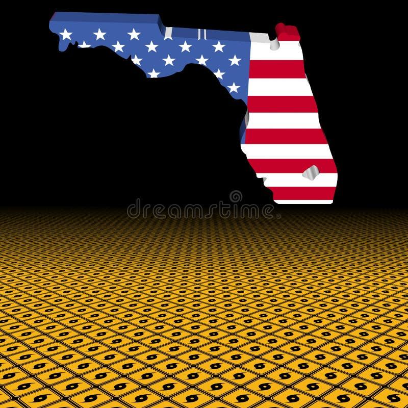 Bandera del mapa de la Florida con el ejemplo del primero plano de la señal de peligro del huracán ilustración del vector