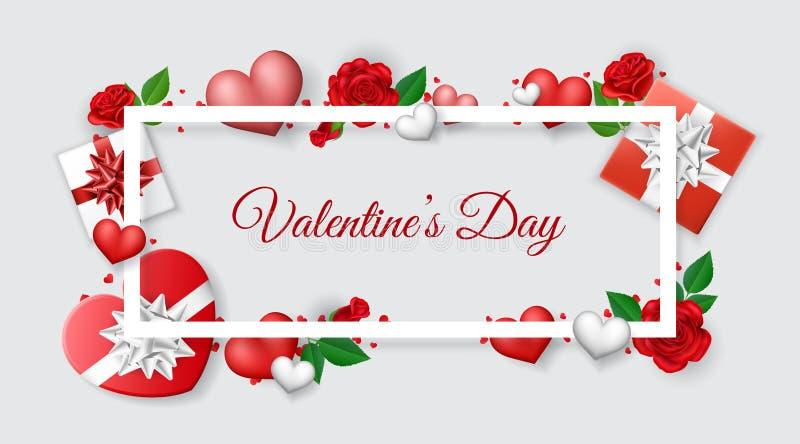 Bandera del marco de la tarjeta del día de San Valentín con la rosa y el regalo ilustración del vector