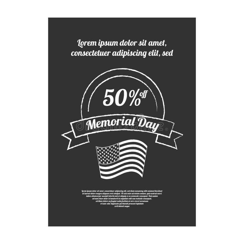 Bandera del Memorial Day stock de ilustración