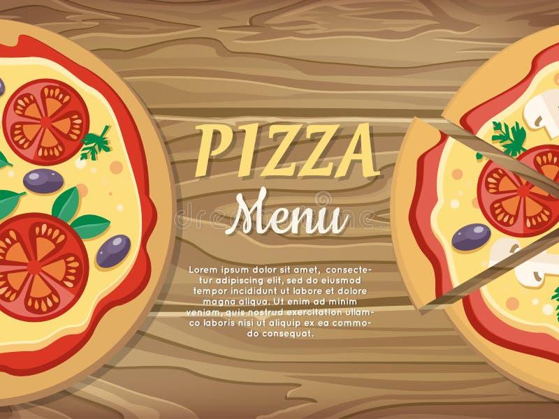 Bandera del menú de la pizza Para la pizzería, anuncio del restaurante libre illustration