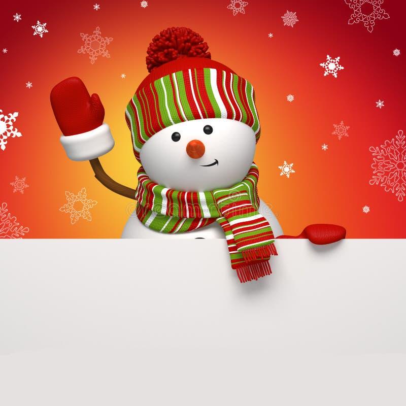 Bandera del muñeco de nieve en rojo ilustración del vector