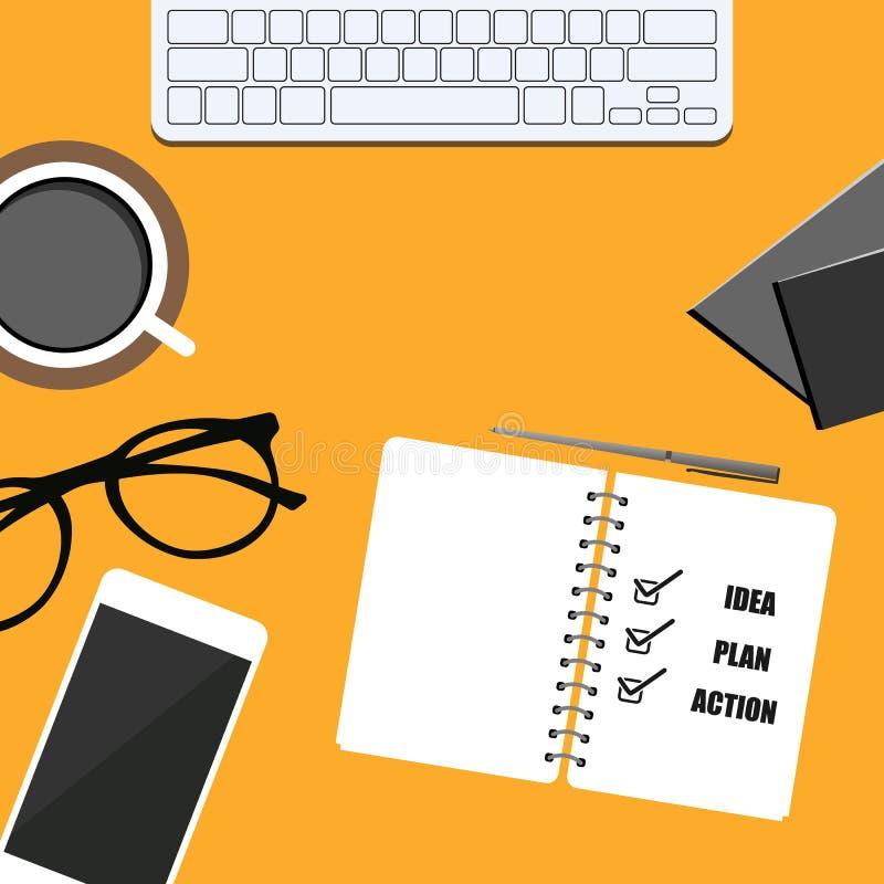 bandera del negocio teléfono, libreta, café, vidrios y cuaderno plan, idea y acción Diseño eps10 del vector stock de ilustración