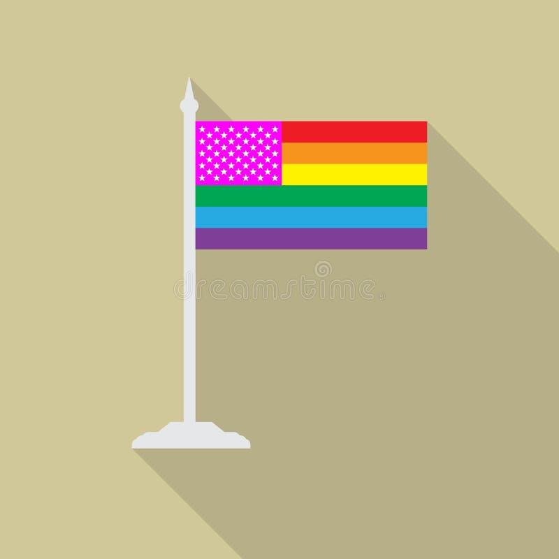 Bandera del orgullo gay de Estados Unidos con el icono plano de la asta de bandera con el shadowt largo Bandera de la comunidad d ilustración del vector