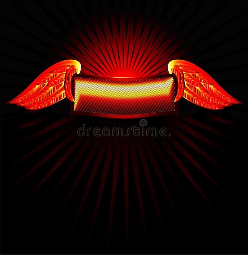 Bandera del oro con las alas libre illustration