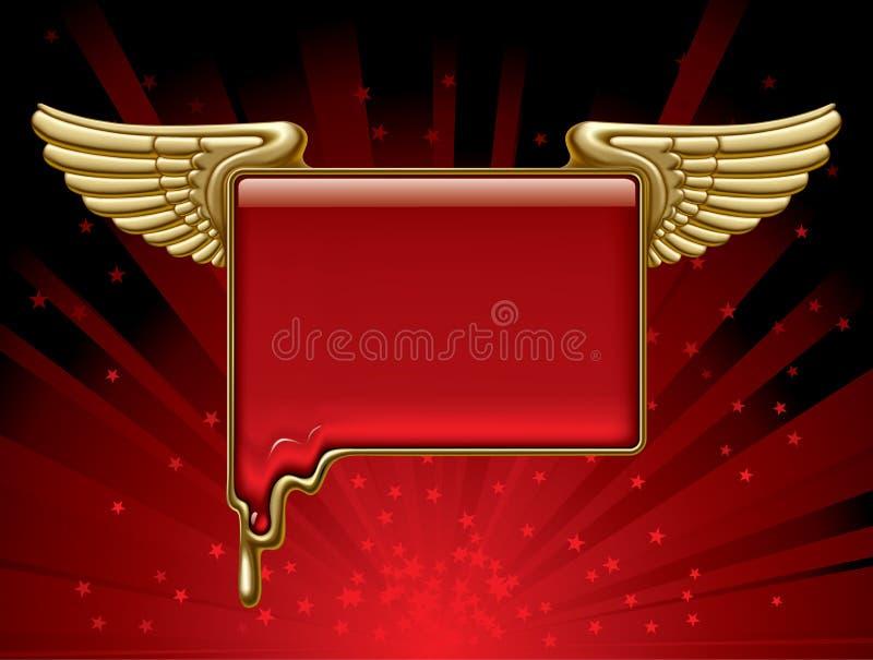 Bandera del oro con las alas stock de ilustración