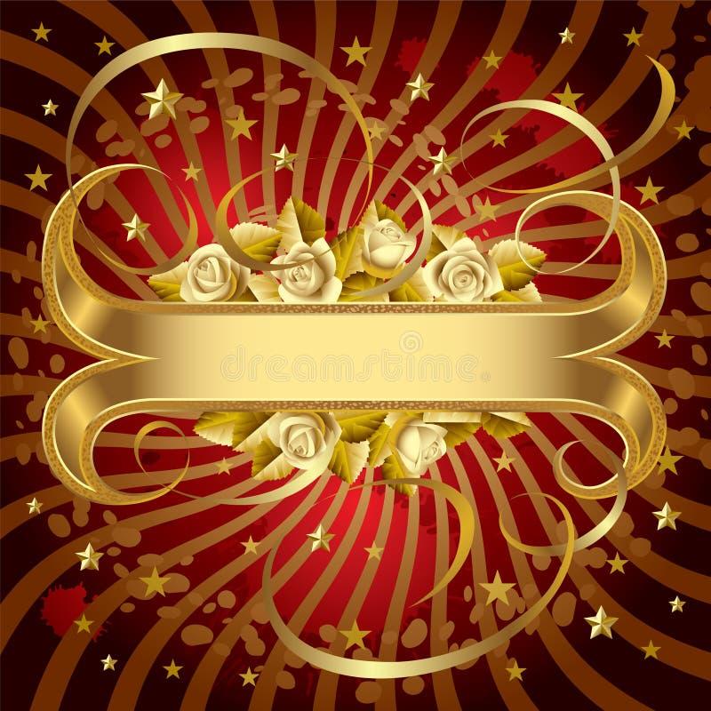 Bandera del oro con las rosas ilustración del vector
