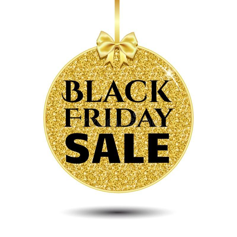 Bandera del oro de la ronda de venta de Black Friday stock de ilustración