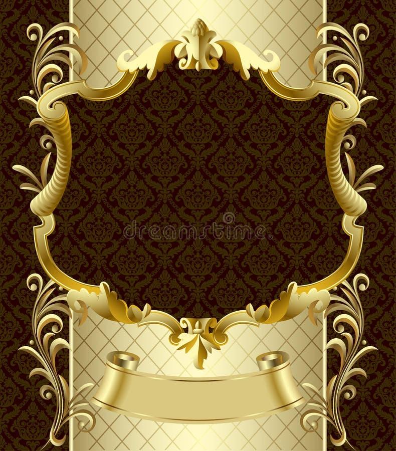 Bandera del oro del vintage con una corona en backgroun del Barroco del marrón oscuro ilustración del vector